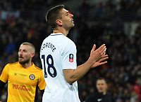 Football - 2017 / 2018 FA Cup - Fourth Round, Replay: Tottenham Hotspur vs. Newport County<br /> <br /> Fernando Llorente of Tottenham misses one of many chances in the second half, at Wembley Stadium.<br /> <br /> COLORSPORT/ANDREW COWIE