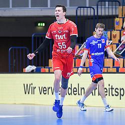 Ludwigshafens Azat Valiullin (Nr.55) jubelt beim Spiel in der Handball Bundesliga, Die Eulen Ludwigshafen - HBW Balingen-Weilstetten.<br /> <br /> Foto © PIX-Sportfotos *** Foto ist honorarpflichtig! *** Auf Anfrage in hoeherer Qualitaet/Aufloesung. Belegexemplar erbeten. Veroeffentlichung ausschliesslich fuer journalistisch-publizistische Zwecke. For editorial use only.