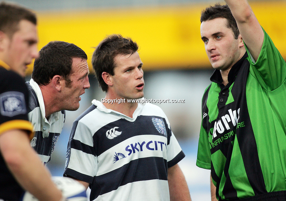 Auckland halfback Steve Devine queries the referee's call during the NPC pre-season match between Auckland and Wellington at Eden Park, Auckland, New Zealand on Saturday 6 August, 2005. Auckland won the match 19-12. Photo: Hannah Johnston/PHOTOSPORT