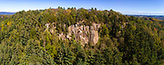 Aerial view of Gibraltar Rock State Natural Area, near Lodi, Columbia County, Wisconsin on a beautiful early autumn afternoon.