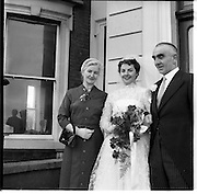 18/02/1957<br /> 02/18/1957<br /> 18 February 1957<br /> Wedding Dr K. Murphy and J. Fitzgerald at St. Mary's Church, Haddington Road and reception at Salthill Hotel, Monkstown. Bride with parents outside hotel.