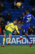 Nelson Oliveira of Norwich city shoots at goal. EFL Skybet championship match, Cardiff city v Norwich city at the Cardiff city stadium in Cardiff, South Wales on Friday 1st December 2017.<br /> pic by Andrew Orchard, Andrew Orchard sports photography.