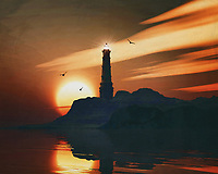 A lighthouse is meant to be a beacon for navigation. You can find a lighthouse along the coast anywhere in the world. In modern times, a lighthouse did lose some of its function due to more advanced technology; However, a lighthouse still retains its romantic function for many.<br /> This painting easily brings the atmosphere of the sea to your home. This coastal scene can be printed in different sizes and on different materials. Both on canvas, wood, metal or framed so it certainly fits into your interior. –<br /> -<br /> BUY THIS PRINT AT<br /> <br /> FINE ART AMERICA / PIXELS<br /> ENGLISH<br /> https://janke.pixels.com/featured/1-lighthouse-with-a-sunset-jan-keteleer.html<br /> <br /> <br /> WADM / OH MY PRINTS<br /> DUTCH / FRENCH / GERMAN<br /> https://www.werkaandemuur.nl/nl/shopwerk/Vuurtoren-met-een-zonsondergang-en-uitgerekte-Stratus-wolken/782478/132?mediumId=15&size=70x55<br /> –<br /> -