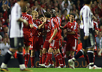 Photo: Paul Thomas.<br /> Liverpool v Newcastle United. The Barclays Premiership. 20/09/2006.<br /> <br /> Xabi Alonso and Liverpool celebrate his goal.