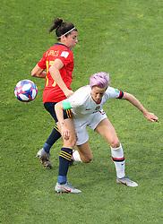 Spain's Lucia Garcia (left) and USA's Megan Rapinoe battle for the ball