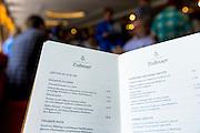 Menu in Cafe-Bistro at Dallmayr food store in Munich in Bavaria, Germany