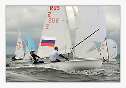 470 Class European Championships Largs - Day 3.Brighter conditions with more wind..RUS2, Mikhail SHEREMETYEV, Maxim SHEREMETYEV, St. Petersburg.