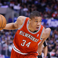 24 March 2014: Milwaukee Bucks guard Giannis Antetokounmpo (34) dribbles during the Los Angeles Clippers 106-98 victory over the Milwaukee Bucks at the Staples Center, Los Angeles, California, USA.