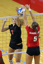 28 AUG 2009: Jessica Pratapas and Melissa Richie do battle on the net. The Redbirds of Illinois State defeated the Runnin' Bulldogs of Gardner-Webb in 3 sets during play in the Redbird Classic on Doug Collins Court inside Redbird Arena in Normal Illinois
