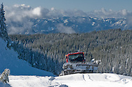 Mount Tahoma Trails Association's Pisten Bully 100 trail groomer cresting the Rainier Vista Trail in the Cascade Range of Washington, USA