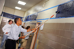 U.S President Barack Obama participates  in a service project at Ronald H Brown Middle School in the Washington, DC, USA on September 11, 2010. Photo by Olivier Douliery/ABACAPRESS.COM  | 243718_003 Washington