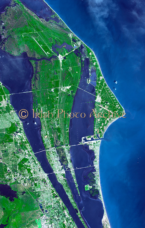 The John F. Kennedy Space Center, America's spaceport, is located along Florida's eastern shore on Cape Canaveral. Satellite image. April 26, 2006