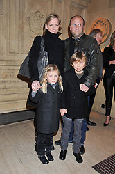 Actress HERMIONE NORRIS, her husband SIMON WHEELER and their children (l-r) HERO & WILF at Cirque du Soleil's VIP night of Kooza held at the Royal Albert Hall, London on 8th January 2013.