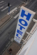 Aerial view of a hotel sign at Hotel des Arts, Montpellier, south of France.