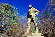 Statue of explorer David Livingstone at Victoria Falls on the Zambezi River, Zimbabwe, Africa