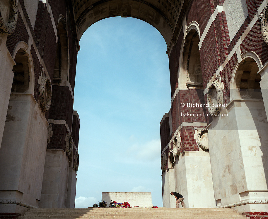 The WW1 Thiepval Memorial to the Missing of the Somme, a major war memorial to 72,191 missing British and South African men who died in the Battles of the Somme of the First World War between 1915 and 1918, with no known grave. Designed by Sir Edwin Lutyens, the memorial was built between 1928 and 1932 and is the largest British battle memorial in the world.