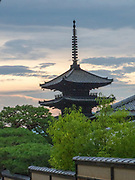 Sunset view of the Yassaka-no-to Pagoda or Hōkan-ji Temple is a five story tall pagoda in Kyoto, Japan