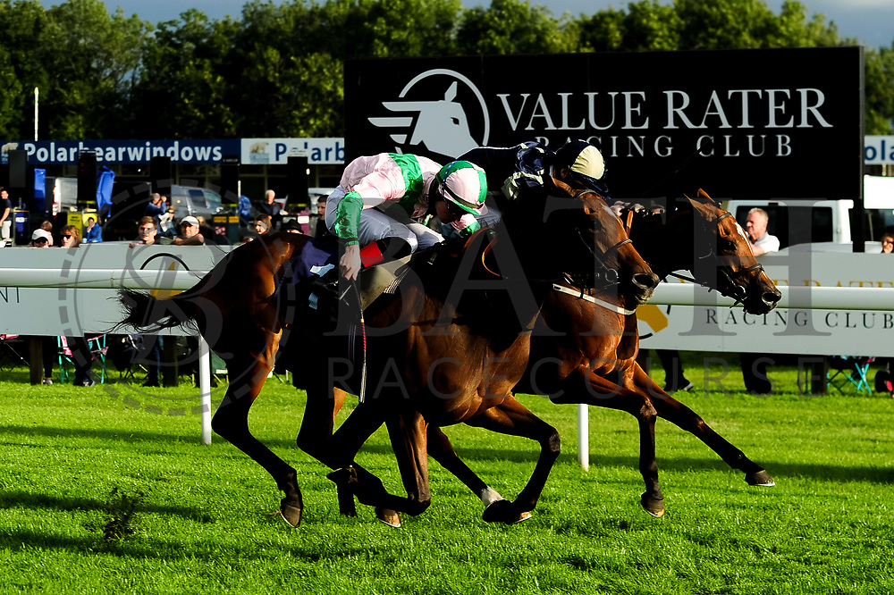 Miss Latin ridden by Dylan Hodge and trained by David Simcock in the Kingstone Press Apple Handicap (Value Rater Racing Club Bath Summer Stayers Series Qualifier) (Class 5) race. Singing The Blues ridden by Daniel Muscutt and trained by Rod Millman in the Kingstone Press Apple Handicap (Value Rater Racing Club Bath Summer Stayers Series Qualifier) (Class 5) race.  - Ryan Hiscott/JMP - 17/08/2019 - PR - Bath Racecourse - Bath, England - Race Meeting at Bath Racecourse