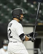 CHICAGO - APRIL 12:  Adam Eaton #12 of the Chicago White Sox bats against the Cleveland Indians on April 12, 2021 at Guaranteed Rate Field in Chicago, Illinois.  (Photo by Ron Vesely) Subject:  Adam Eaton