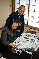 "Japanese Calligraphy Lesson at Taizo-in well-known for opening its doors to visitors and casual tourists in order to teaching Zen Buddhism, including ""Zen Experience"" visits which include calligraphy sessions, tea ceremony, and a vegetarian lunch called shojin ryori - a special gourmet assortment of vegetarian dishes."