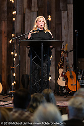 Arlen's daughter Sherri Foxworthy went through the entire alphabet with words that reminded her of her Dad before the large crowd at the Arlen Ness Memorial - Celebration of Life at the CrossWinds Church, Livermore, CA, USA. Saturday, April 27, 2019. Photography ©2019 Michael Lichter.
