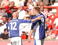 Fotball<br /> 07.08.2004<br /> Foto: SBI/Digitalsport<br /> NORWAY ONLY<br /> <br /> Date: 07/08/2004.<br /> Coca Cola League Two <br /> Leyton Orient V Macclesfield Town 07/08/2004<br /> <br /> Macclesfield Town's Jon Parkin celebrates his second goal