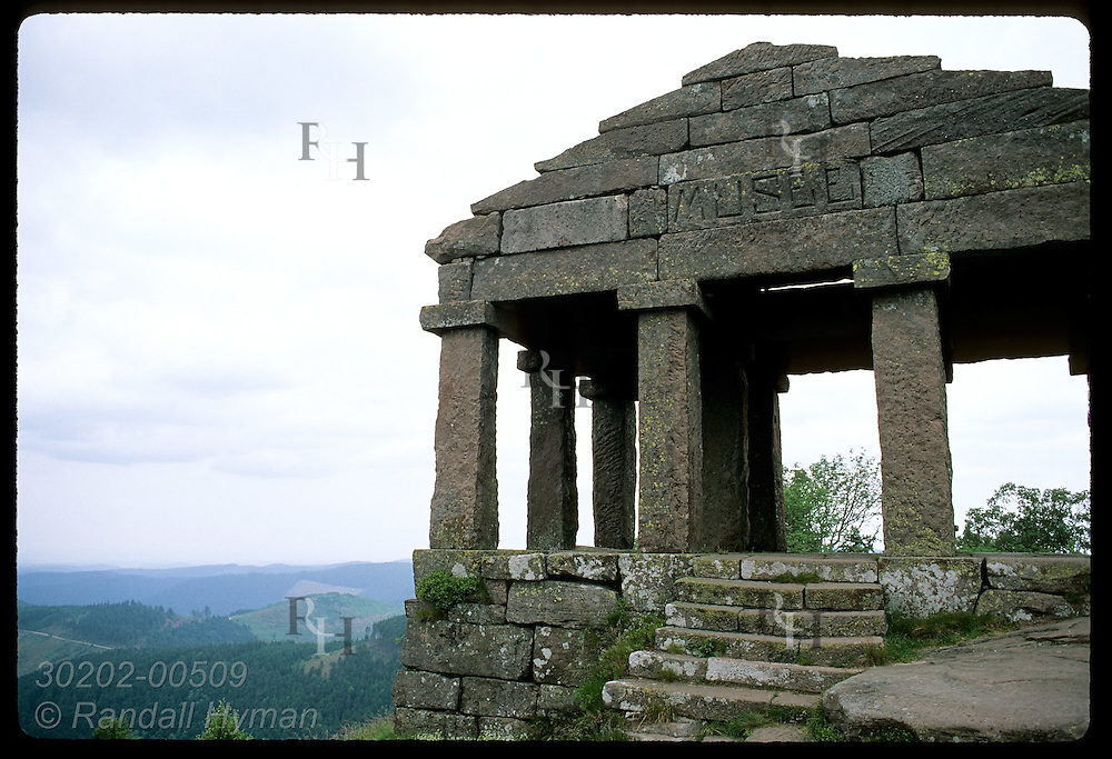 Temple Museum, built 1869 atop Le Donon-1009m, once housed Greco -Roman style statues; Vosges Mts France