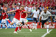 Christian ERIKSEN of Denmark and Steven NZONZI of France during the 2018 FIFA World Cup Russia, Group C football match between Denmark and France on June 26, 2018 at Luzhniki Stadium in Moscow, Russia - Photo Thiago Bernardes / FramePhoto / ProSportsImages / DPPI