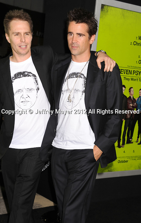 WESTWOOD, CA - OCTOBER 01: Sam Rockwell and Colin Farrell arrive at the Los Angeles premiere of 'Seven Psychopaths' at Mann Bruin Theatre on October 1, 2012 in Westwood, California.