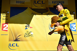 July 15, 2017 - Rodez, FRANCE - British Chris Froome of Team Sky celebrates on the podium in the yellow jersey of leader in the overall ranking after the 14th stage of the 104th edition of the Tour de France cycling race, 181,5 from Blagnac to Rodez, France, Saturday 15 July 2017. This year's Tour de France takes place from July first to July 23rd. BELGA PHOTO DAVID STOCKMAN (Credit Image: © David Stockman/Belga via ZUMA Press)