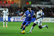Everton's Gareth Barry breaks away from Swansea city's Wilfried Bony. Barclays Premier league, Swansea city v Everton at the Liberty Stadium in Swansea,  South Wales on Sunday 22nd Dec 2013. pic by Andrew Orchard, Andrew Orchard sports photography.