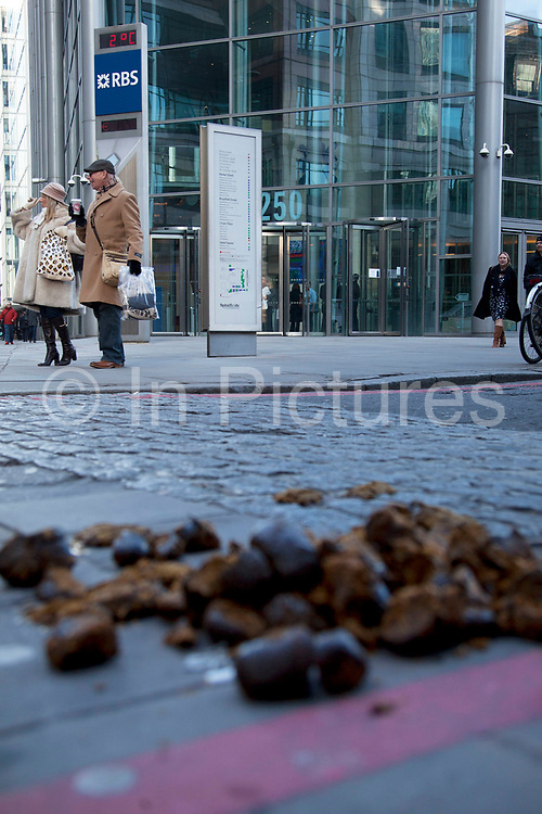 Horse manure outsdide the Headquarters of Royal Bank of Scotland on Bishopsgate in the City of London. RBS has become a symbol of the recession, credit crunch, financial failure during the economic downturn. Now 80% publicly owned the bank has again been in the news in 2012 following the appointment, then rejection of a 1m pound bonus by it's current chief executive, and the withdrawl of the nighthood of former chief executive.