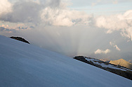 First light looking across the Ghiacciaio di Garstelet (by Rif. Gnifetti), Monte Rosa, nr Aosta Valley, Italy
