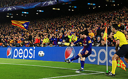 Barcelona fans look on as Lionel Messi takes a corner  - Mandatory by-line: Matt McNulty/JMP - 14/03/2018 - FOOTBALL - Camp Nou - Barcelona, Catalonia - Barcelona v Chelsea - UEFA Champions League - Round of 16 Second Leg