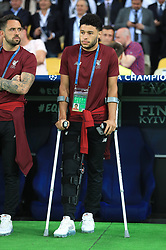 Liverpool's Alex Oxlade-Chamberlain on crutches due to a knee injury during the UEFA Champions League Final at the NSK Olimpiyskiy Stadium, Kiev.