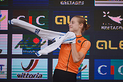 New European Champion, Elise Uijen (NED) at the 2020 UEC Road European Championships - Junior Women ITT, a 25.6 km individual time trial in Plouay, France on August 24, 2020. Photo by Sean Robinson/velofocus.com
