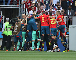 July 1, 2018 - Moscow, Russia - July 01, 2018, Russia, Moscow, FIFA World Cup 2018, the playoff round. Football match Spain - Russia at the stadium Luzhniki. Player of the national team Goal; joy; victory. (Credit Image: © Russian Look via ZUMA Wire)
