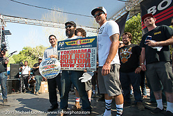 The big award went to Kosuke Saito on Day one of the Born Free Vintage Chopper and Classic Motorcycle Show at the Oak Canyon Ranch in Silverado, CA. USA. Saturday, June 28, 2014.  Photography ©2014 Michael Lichter.