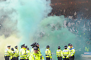 Smoke grenades set off by Celtic fans during the Betfred Cup Final between Celtic and Aberdeen at Hampden Park, Glasgow, United Kingdom on 2 December 2018.