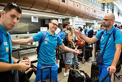 Damjan Sebjan and Domen Starc of Slovenian deaf team before departure to 23rd Summer Deaflympics in Samsun, Turkey, on July 14, 2017 at Airport Joze Pucnik, Brnik, Slovenia. Photo by Vid Ponikvar / Sportida