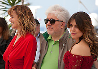 Actress Emma Suarez, Director Pedro Almodovar and actress Adriana Ugarte at the Julieta film photo call at the 69th Cannes Film Festival Tuesday 17th May 2016, Cannes, France. Photography: Doreen Kennedy