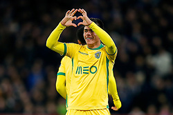 Jonathan Silva of Sporting celebrates with a heart gesture to the away fans after scoring a goal to make it 2-1 - Photo mandatory by-line: Rogan Thomson/JMP - 07966 386802 - 10/12/2014 - SPORT - FOOTBALL - London, England - Stamford Bridge - Sporting Clube de Portugal - UEFA Champions League Group G.