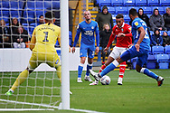 Barnsley forward Jacob Brown (33) gets in a shot during the EFL Sky Bet League 1 match between Peterborough United and Barnsley at The Abax Stadium, Peterborough, England on 6 October 2018.
