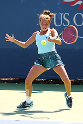 September 4, 2017 - New York City, New York, United States - Maja Chwalinska of Poland competes  against Carson Branstine of USA (not seen)  in US Open Junior girl at Arthur Ashe Stadium in New York, United States on September 4, 2017. (Credit Image: © Foto Olimpik/NurPhoto via ZUMA Press)