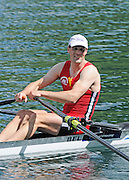Lucerne, SWITZERLAND.  Men's Single Scull Semi-Final,BEL M1X. Tim MAEYENS, finish area. 2012 FISA Olympic Qualifying Regatta on the Rotsee Rowing Course,  Tuesday  22/05/2012  [Mandatory Credit Peter Spurrier/ Intersport Images]