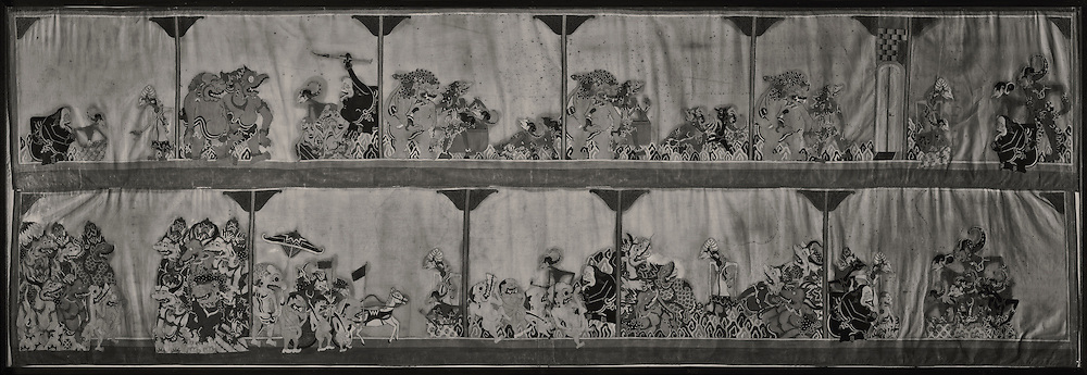 Sundanese wayang mural on cloth, Museum Sri Baduga, Bandung, Jawa Barat, Indonesia.