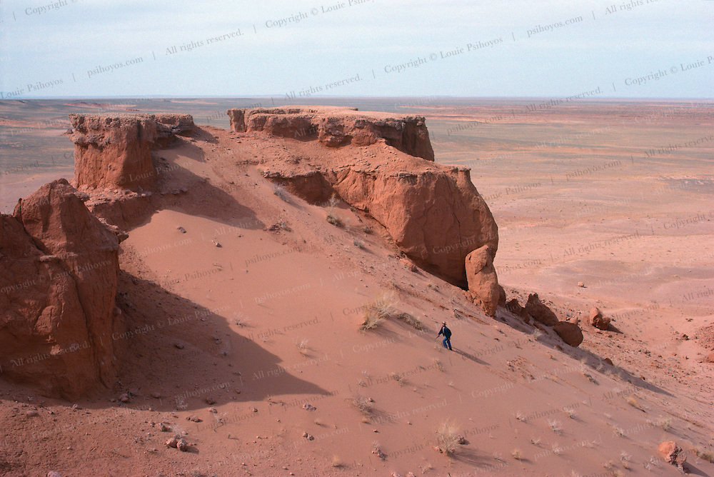 Paleontologist Altangerel Perle working at the Flaming Cliffs in the Gobi Desert of Mongolia where some of the first dinosaur eggs were discovered.