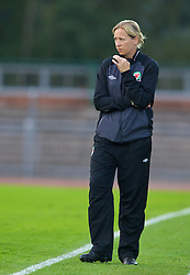 iNEWPORT, WALES - Tuesday, August 27, 2013: Wales' head coach Jayne Ludlow looks on from the touchline during an international friendly at Dragon Park against Finland. (Pic by Kieran McManus/Propaganda)