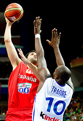 Felipe Reyes of Spain vs Ali Traore of France during basketball game between National basketball teams of France and Spain at FIBA Europe Eurobasket Lithuania 2011, on September 11, 2011, in Siemens Arena,  Vilnius, Lithuania. Spain defeated France 96-69. (Photo by Vid Ponikvar / Sportida)