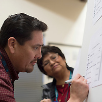 011514      Cayla Nimmo<br /> <br /> City Clerk Alfred Abeita writes the official ballot positions selected for the regular municipal elections during the drawing held at City Council Chambers in City Hall Thursday night.